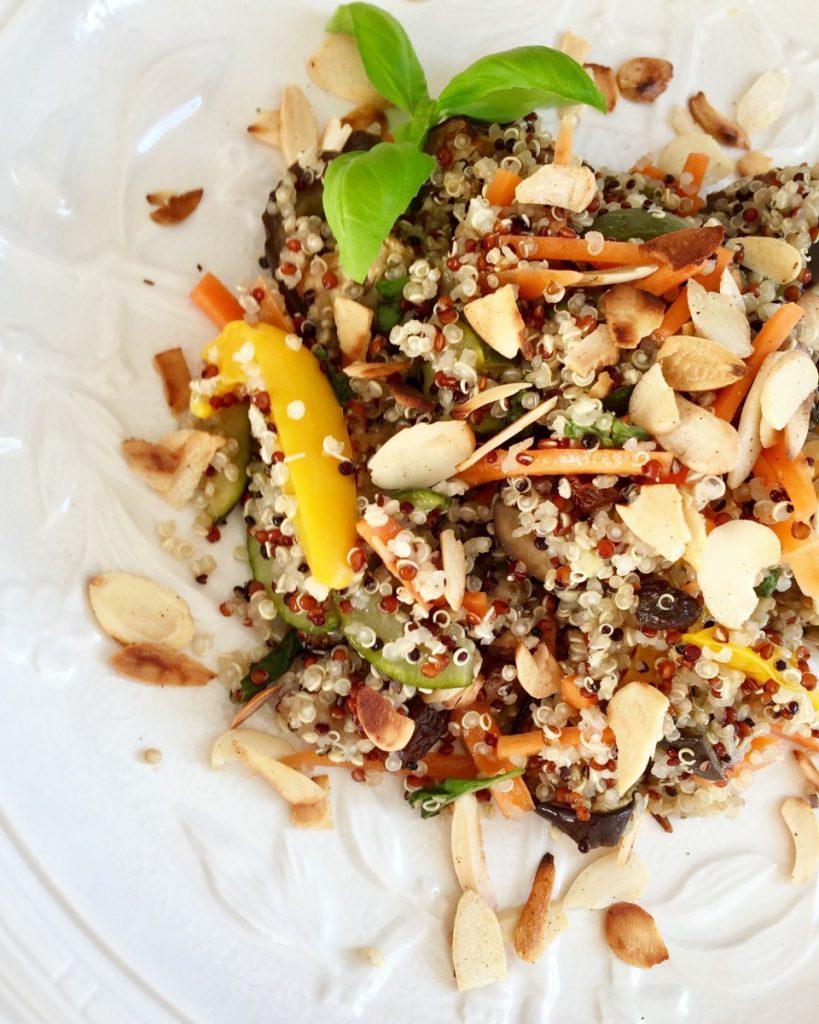 Tricolour quinoa salad